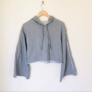 Honey Punch Oversized crop sweatshirt flare hoodie